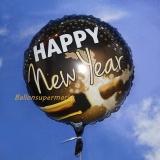 Silvester-Luftballon aus Folie mit Helium, Happy New Year Champagner, rund