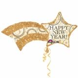 Silvester-Luftballon aus Folie mit Helium, Sternschnuppe Happy New Year