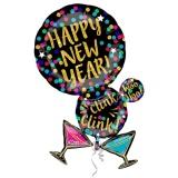 Silvester-Luftballon-Cluster aus Folie mit Helium, Punkte und Martinigläser Happy New Year