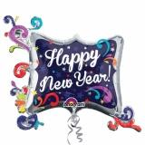 Luftballon zu Silvester, Happy New Year Swirl Frame