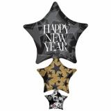 Silvester-Luftballon-Cluster aus Folie mit Helium, Sterne Happy New Year