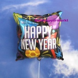 Silvester-Luftballon aus Folie mit Helium, Happy New Year, eckig
