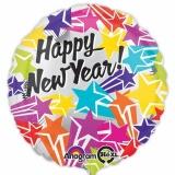 Holografischer Luftballon zu Silvester, Happy New Year Bright Stars