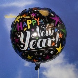 Holografischer Silvester-Luftballon aus Folie mit Helium, Happy New Year, rund