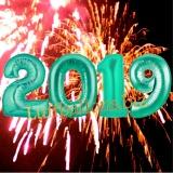 Luftballon-Set zu Silvester, große Zahlen, 2019, Aquamarin