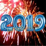 Luftballon-Set zu Silvester, große Zahlen, 2019, Blau