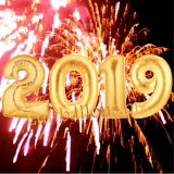 Luftballon-Set zu Silvester, große Zahlen, 2019, Gold