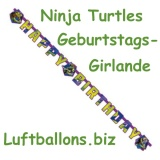 Geburtstagsgirlande Ninja Turtles, Happy Birthday