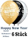 Happy New Year Luftballons, 6 Stück, in Gold, Schwarz und Silber