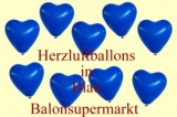 Herzluftballons, Herzballone, Luftballons in Herzform, 50 Stück, Blau, 30-33 cm