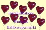 Herzluftballons Burgund