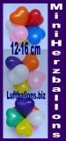Mini-Herzluftballons, 12-16 cm, Orange, 100 Stück