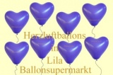 Herzluftballons, Herzballone, Luftballons in Herzform, 100 Stück, Lila, 30-33 cm