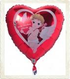 Luftballon aus Folie, Liebe, Herzluftballon Ich liebe dich, Bärchen, inklusive Helium