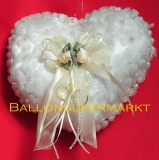 Ringkissen Hochzeitsdeko, Perlen, Blüten und Schleife