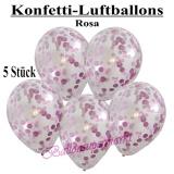 Konfetti-Luftballons, 30 cm, Rosa, 5 Stück