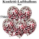 Konfetti-Luftballons, 30 cm, Rot, 5 Stück
