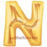Buchstabe N, gold, Luftballon mit Helium