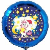 Weihnachts-Luftballon, Merry Christmas Einhorn, rund