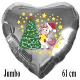 Luftballon zu Weihnachten, Einhorn mit Tannenenbaum, silber