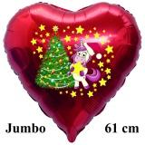 Luftballon zu Weihnachten, Einhorn mit Tannenenbaum, rot