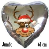 Luftballon zu Weihnachten, Rentier Rudolph, silber