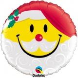 Weihnachts-Luftballon, Smiley Weihnachtsmann, rund