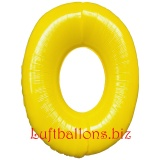 Zahl 0, gelb, Luftballon mit Helium