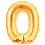 Zahl 0, gold, Luftballon mit Helium