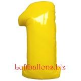 Zahl 1, gelb, Luftballon mit Helium