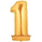 Zahl 1, gold, Luftballon mit Helium