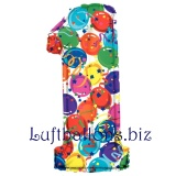 Folien-Luftballon Balloons and Streamers, Zahl 1