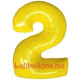 Zahl 2, gelb, Luftballon mit Helium