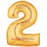 Zahl 2, gold, Luftballon mit Helium