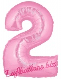 Zahl 2, rosa, Luftballon mit Helium