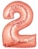 Zahlen-Luftballon Rosegold, Zahl 2