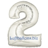 Zahlen-Luftballon Silber, Zahl 2