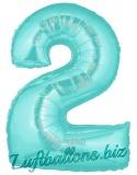 Zahlen-Luftballon Türkis, Zahl 2