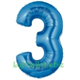 Zahlen-Luftballon Blau, Zahl 3