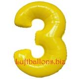 Zahl 3, gelb, Luftballon mit Helium