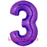 Zahlen-Luftballon Lila, Zahl 3