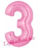 Zahl 3, rosa, Luftballon mit Helium