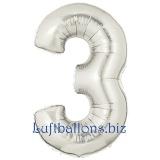Zahlen-Luftballon Silber, Zahl 3