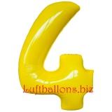 Zahl 4, gelb, Luftballon mit Helium
