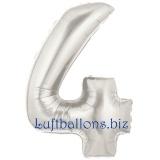 Zahlen-Luftballon Silber, Zahl 4