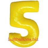 Zahl 5, gelb, Luftballon mit Helium