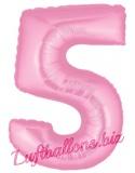 Zahl 5, rosa, Luftballon mit Helium
