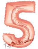 Zahlen-Luftballon Rosegold, Zahl 5