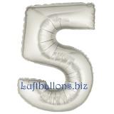Zahlen-Luftballon Silber, Zahl 5