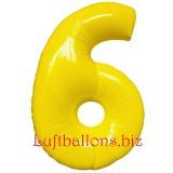 Zahl 6, gelb, Luftballon mit Helium